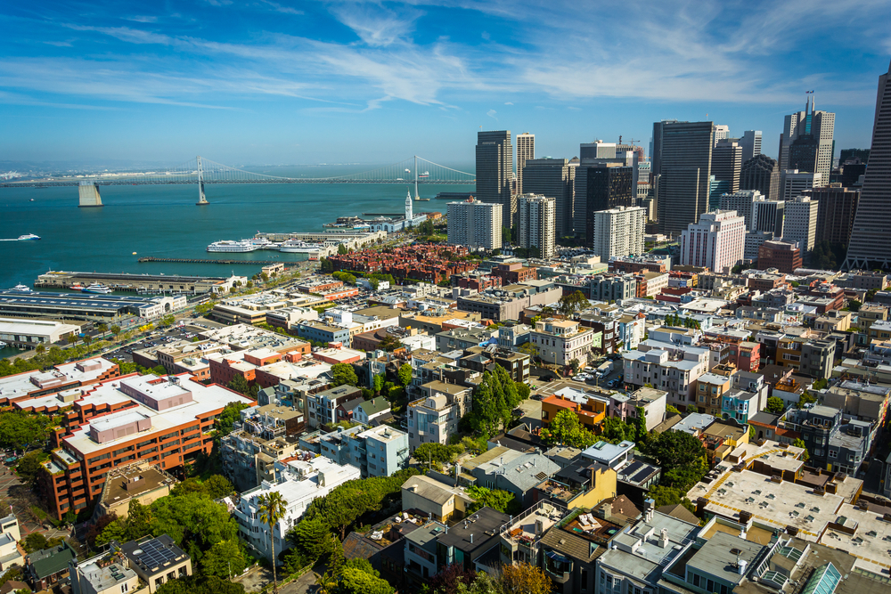 View of the downtown skyline  and San Francisco - Oakland Bay Bridge, from Coit Tower in San Francisco, California.